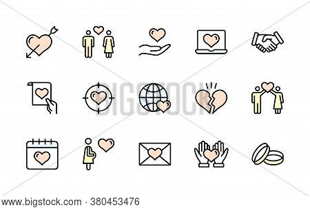 Love And Heart, Vector Color Linear Icon Set. Contains Icons Wedding, Ring, Couple, Romance, Romanti