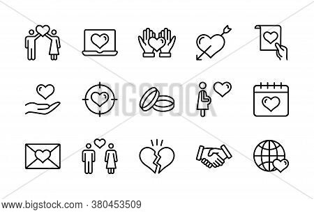 Love Heart Wedding Ring Hand Couple Proposal Romantic Vector Linear Icons Set. Simple Set Love Conta