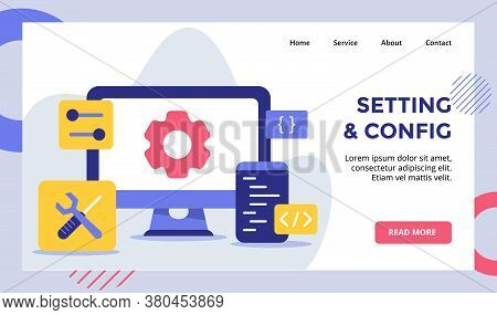 Setting And Config Gear On Display Monitor Computer For Web Website Home Homepage Landing Page Templ