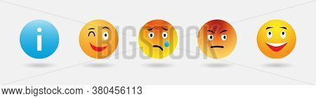 Emoticon Reactions Color Icon Vector Set. Abstract Funny Style High Quality, Round Yellow Cartoon Bu