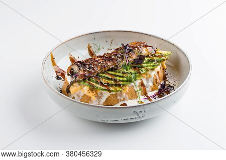 Isolated Asian Style Unagi Toast With Sauce And Vegetables