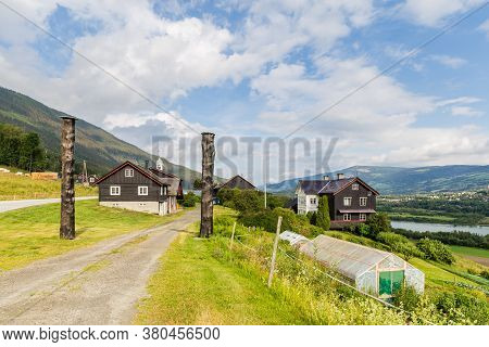 Traditional Farmhouse And Garden In Sorr-fron Municipality In Gudbrandsdal In Oppland County, Norway