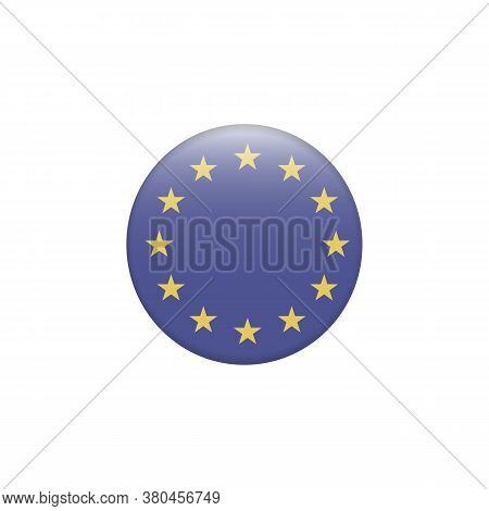 European Union-eu Flag With Exact Dimensions And Colours. Round Button Flag Vector Illustration Isol