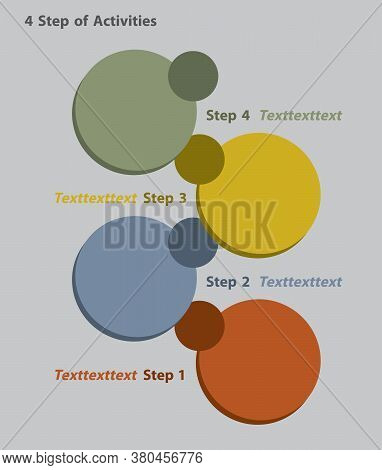 Infographic Of 4 Step Of Work Or Activities, The Four Round 3d In Four Color.