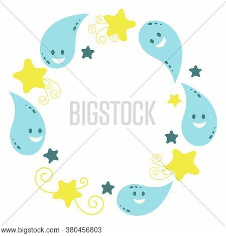 Funny Water Droplets. Frame For Congratulations, Greetings. Vector