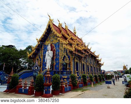 Chiang Rai. Thailand, June 16, 2017: Wat Rong Suea Ten. General View From The Back Of The Blue Templ