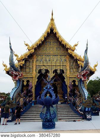 Chiang Rai. Thailand, June 16, 2017: Wat Rong Suea Ten. Main Facade Of The Blue Temple In Chiang Rai