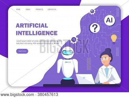 Ai Concept. Ai Background With Futuristic Funny Character With Artificial Intelligence For Mobile Me