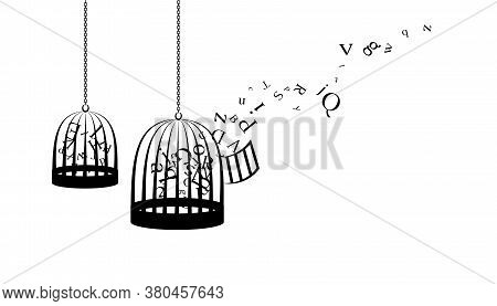 Birdcages With Flying Up Letters. Vector Decoration From Scattered Elements. Monochrome Isolated Sil