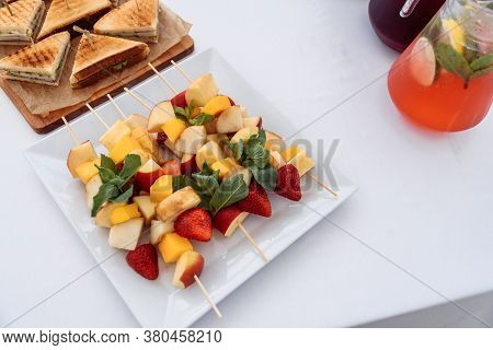 Catering Treats On The Table For An Event Birthday, Wedding Or Anniversary, Corporate Party Or Meeti
