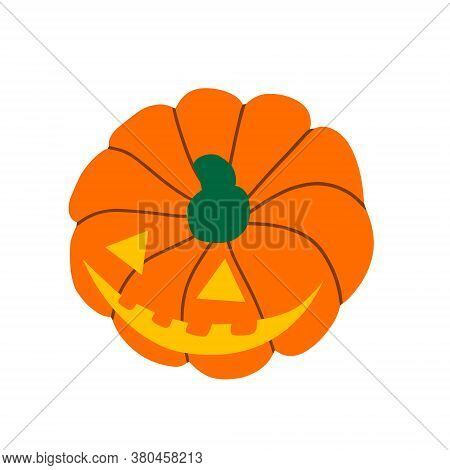 Evil Pumpkin For Halloween. Creepy Scary Pumpkin Is A Symbol Of The Halloween Holiday. Vector Illust