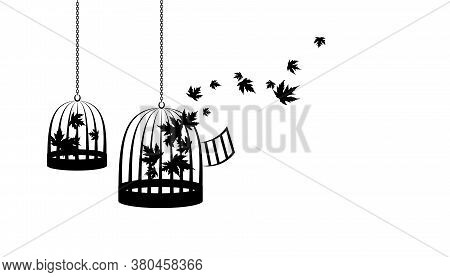 Birdcages With Flying Up Maple Leaves. Vector Decoration From Scattered Elements. Monochrome Isolate