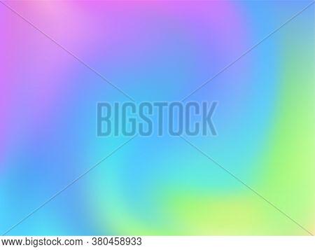 Hologram Effect Glitch Gradient Vector Design. Futuristic Pastel Rainbow Unicorn Background. Hologra