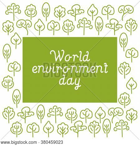 World Environment Day Card. Background With Green Trees .vector Illustration