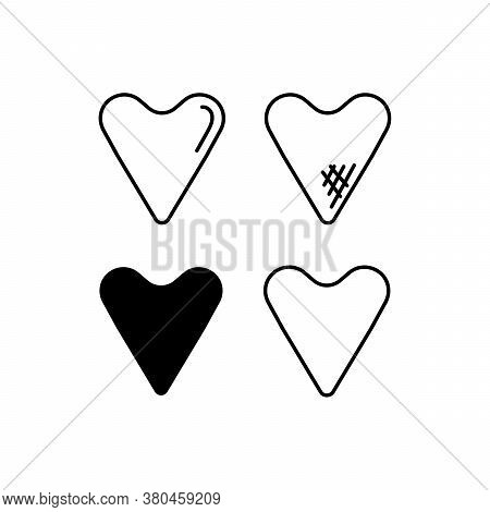 Vector Set - Hearts . Icons, Isolated On White Background