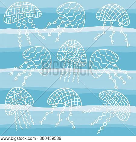 Hand Drawn Jellyfish. Sea. Vector Illustration Doodle Background