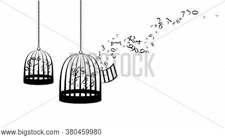 Birdcages With Flying Up Numbers. Vector Decoration From Scattered Elements. Monochrome Isolated Sil
