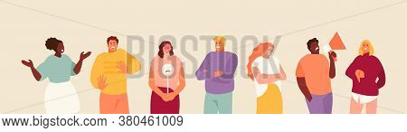 Unsatisfied People Customers With Negative Gestures And Expressions. Bad Review Vector Illustration
