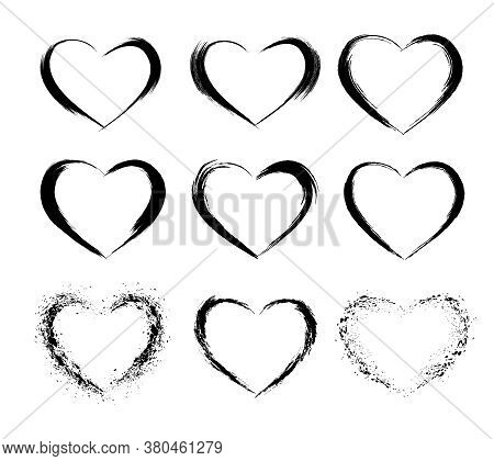 Heart Shape Frames Collection. Makeup Mascara Brush Stroke Decorations. Hand Drawn Abstract Design E