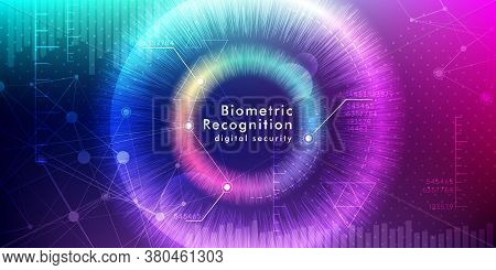 Biometric Recognition Background. Vector Illustration With Eye Iris And Digital Security Interface..