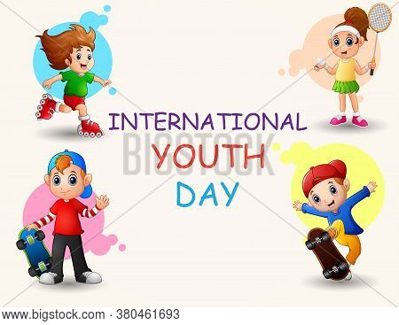 Happy International Youth Day With Playing Kids