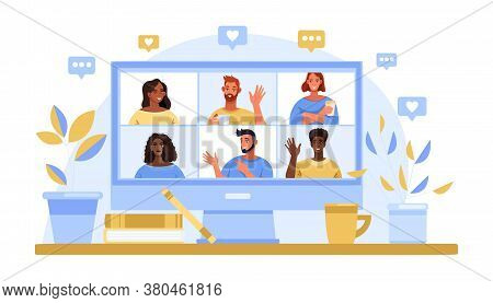 Group Video Call Concept With Computer Screen, Diverse People Avatars, Home Workplace. Virtual Meeti