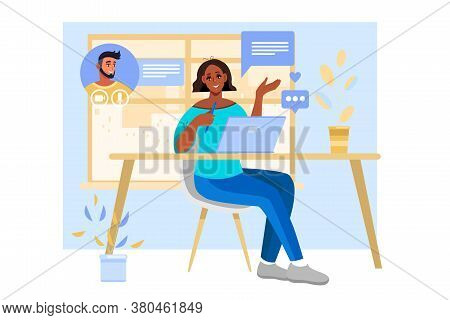Virtual Meeting Vector Illustration With Woman Talking To Her Boyfriend Online At Home. Video Call O