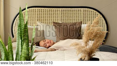 Exhausted Young Sleepy Woman Falls Down On Bad. Apathetic Tired Lazy Lady Sleeping On Bed At Home Al