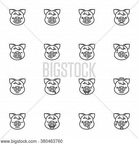 Piggy Face Emoji Line Icons Set, Outline Vector Symbol Collection, Linear Style Pictogram Pack. Sign