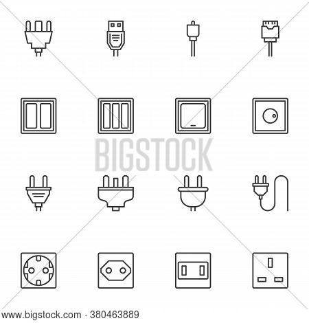 Electrical Connector Line Icons Set, Outline Vector Symbol Collection, Plug And Socket Linear Style