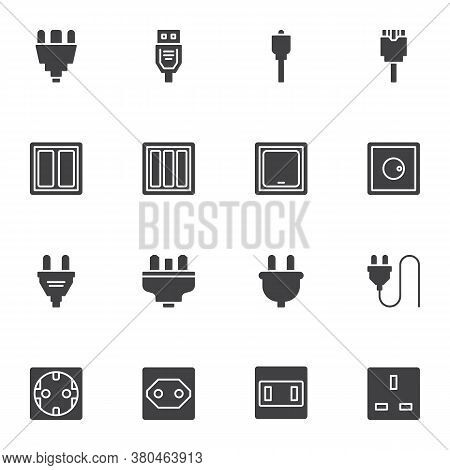 Electrical Connector Vector Icons Set, Modern Solid Symbol Collection, Plug And Socket Filled Style