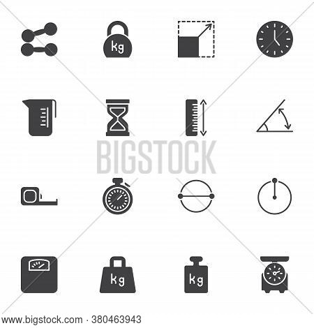 Weight And Measurement Vector Icons Set, Modern Solid Symbol Collection, Filled Style Pictogram Pack