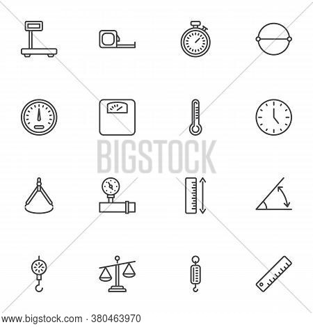Scale Measurement Line Icons Set, Outline Vector Symbol Collection, Linear Style Pictogram Pack. Sig