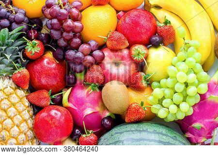 Fresh Fruits.assorted Fruits Colorful,clean Eating,fruit Background,top View