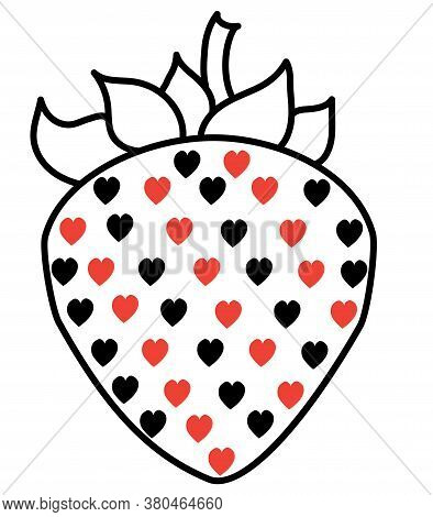 Playful, Erotic Strawberry. Black Line With Red And Black Hearts. Contour Drawing On A White Backgro