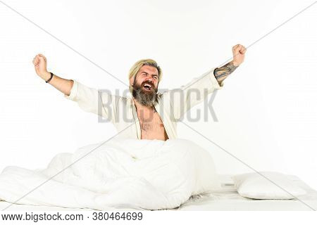 Sleep Disorders Concept. Guy Lying In Bed Try To Relax And Fall Asleep. Man Bearded Hipster Having P