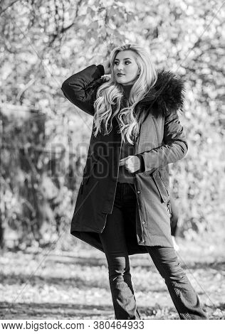 Woman Long Blonde Hair Wear Stylish Outfit With Parka. Create Fall Outfit To Feel Comfortable And Pr