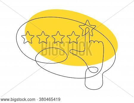 Rate Us In Continious Single Line - Drawn Hand Assesses Maximum Positive Ranking With Five Rating St