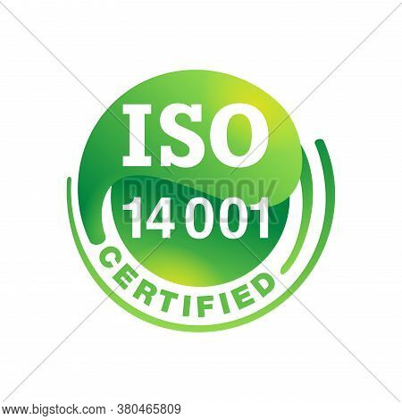 Iso 14001 Certified Emblem - Environmental Management System International Standard Approved Stamp