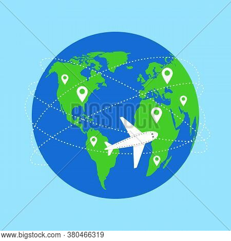 World Map And Plane Flight. Planet And Trajectory, Flight Path. Airplane Flies And Leaves Dashed Tra