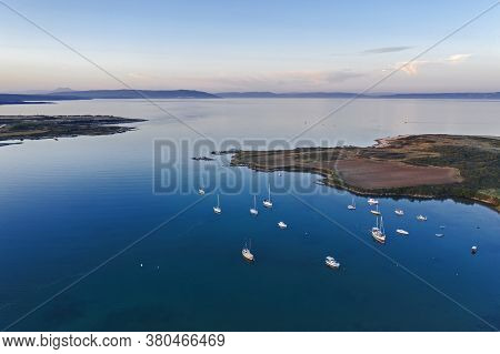 An Aerial Shot Of Kuje Lagoon In Liznjan At Dusk, Istria, Croatia