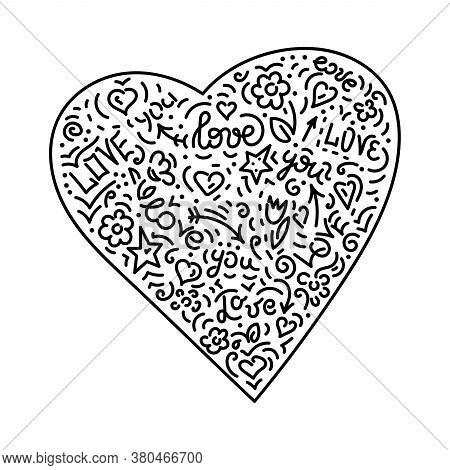 Doodle Hand Drawing. Heart. Words And Phrases About Love. Background. Vector Illustration