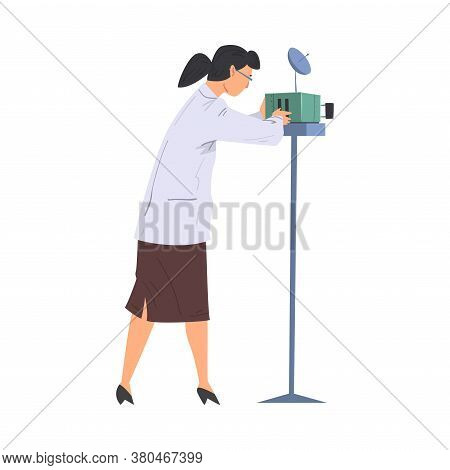 Scientist In Lab, Woman In White Coat Doing Scientific Experiment With Laboratory Equipment Vector I