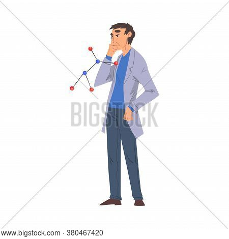 Scientist In Lab, Man In White Coat Doing Chemical Research In Science Laboratory Vector Illustratio