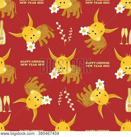 Vector Happy Chinese New Year Of The Ox Seamless Pattern Background. Cute Kawaii Bull Holding A Luck
