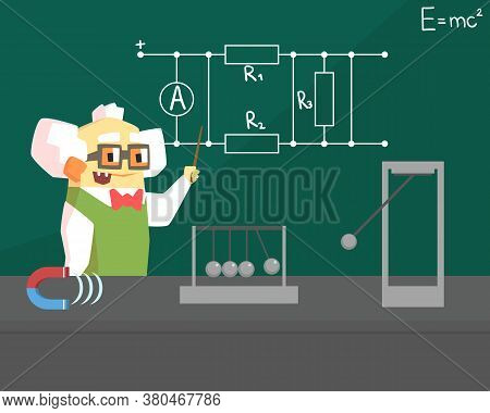 Old Physicist Scientist Character, Professor Standing In Front Of Blackboard Vector Illustration