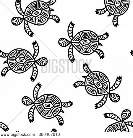 Seamless Pattern With Cute Turtles. Hand Drawn Vector