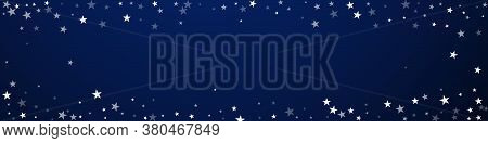 Random Falling Stars Christmas Background. Subtle Flying Snow Flakes And Stars On Dark Blue Backgrou