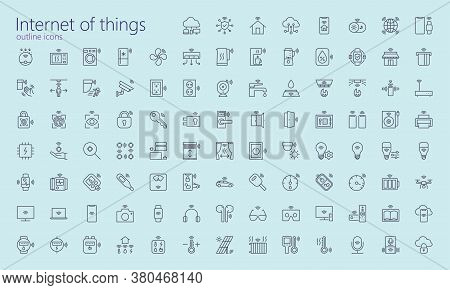 Iot Outline Icons For Web, Mobile App, Presentaton And Other. Was Created With Grids For Pixel Perfe