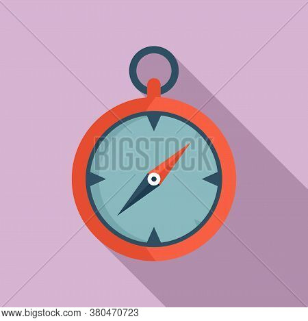 Survival Compass Icon. Flat Illustration Of Survival Compass Vector Icon For Web Design